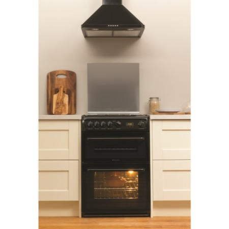Hotpoint HAGL60K 60cm Double Oven Gas Cooker With Lid Black