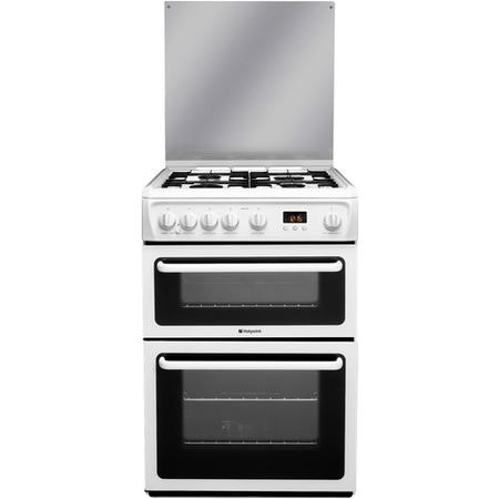 Hotpoint HAGL60P 60cm Double Oven Gas Cooker With Lid - White