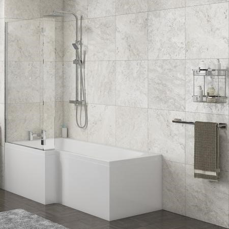 Lena Left Hand L Shape Shower Bath with Side Panel & Shower Screen- 1500 x 700mm