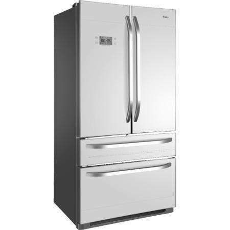 Haier hb21fgwaa 543l frost free american style 4 door fridge freezer white glass doors - Glass door refrigerator freezer ...