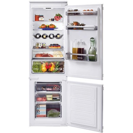 Hoover HBBS100UK 54cm Wide 70-30 Integrated Upright Fridge Freezer - White - Sliding Rail