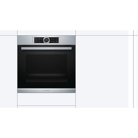 Bosch HBG673BS1B Serie 8 Ten Function Electric Built-in Single Oven With Pyrolytic Cleaning - Stainless Steel