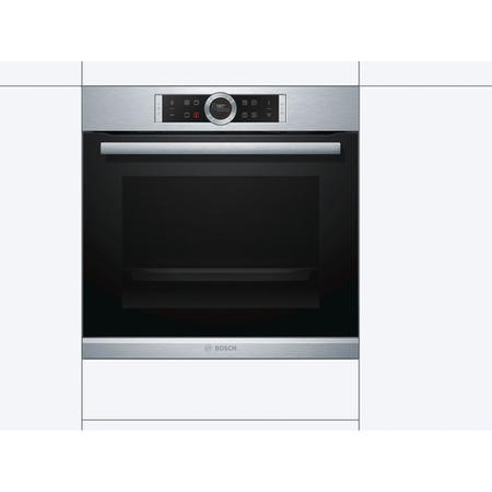 Bosch HBG674BS1B Serie 8 Multifunction Electric Single Oven with 71L Capacity - Stainless Steel