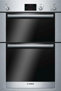 BOSCH HBM13B550B Exxcel Hot Air Electric Built-in Double Multi-function Oven in Brushed Steel