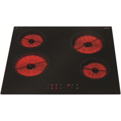 HC6620FR CDA HC6620FR Touch Control Four Zone Frameless Ceramic Hob Black