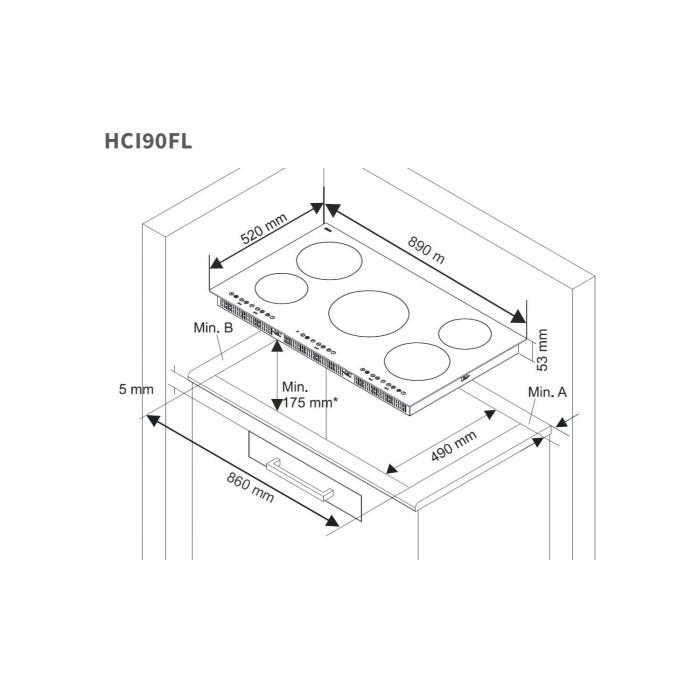 Nordmende Hci90fl 90cm 5 Zone Induction Hob Appliances Direct Circuit Diagram Of Cooker