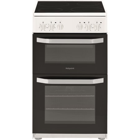 Hotpoint HD5V92KCW 50cm Double Cavity Electric Cooker With Ceramic Hob - White