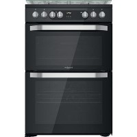 Hotpoint HDM67G9C2CB 60cm Double Oven Dual Fuel Cooker - Black