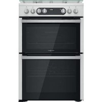 Hotpoint 60cm Double Oven Dual Fuel Cooker - Stainless Steel