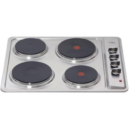 CDA HE6050SS 58cm Side Rotary Control Four Zone Solid Plate Hob Stainless Steel