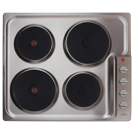 CDA HE6051SS Electric Hob 60cm 4 Plate Side Manual Control Stainless Steel