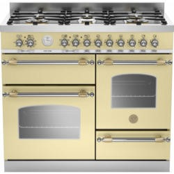 Bertazzoni HER100-6-MFE-T-CRT Heritage XG 100cm Dual Fuel Range Cooker With 6 Burners 2 Ovens And Gr
