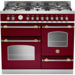 Bertazzoni HER100-6-MFE-T-VIT Heritage XG 100cm Dual Fuel Range Cooker With 6 Burners 2 Ovens And Gr