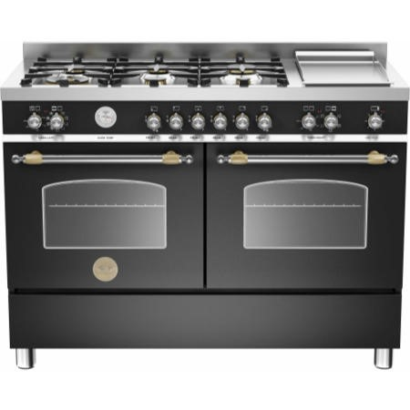 Bertazzoni HER120-6G-MFE-D-NET Heritage 120cm Dual Fuel Range Cooker With 6 Burners And 2 Ovens Matt