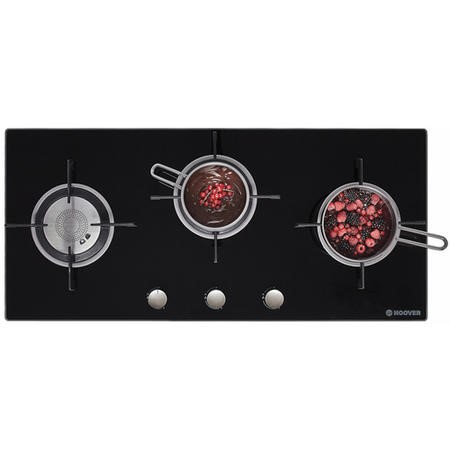 Hoover HGV93SXVB 90cm Front Control Three Burner Gas-on-glass Hob - Black Glass