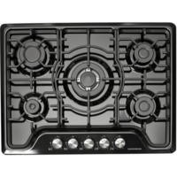 NordMende HGW703BL Black 70cm Gas Hob with Central Wok Burner Front Control