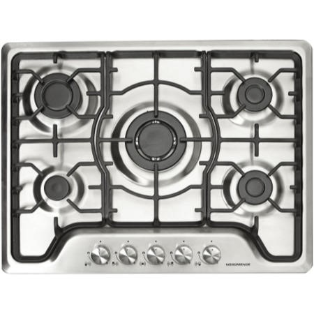 NordMende HGW703IX Stainless Steel 70cm Gas Hob with Central Wok Burner Front Control