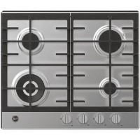 Hoover HHG6BF4K3X H-HOB 300 60cm Four Burner Gas Hob With Cast Iron Pan Stands - Stainless Steel