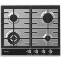 Hoover HHG6BF4WVX Vogue 60cm Four Burner Gas Hob With Enamelled Pan Stands - Stainless Steel