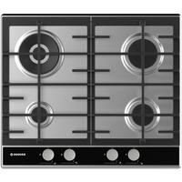 Hoover HHG6BR4WVX 60cm Four burner Gas Hob With Cast Iron Pan Stands - Stainless Steel
