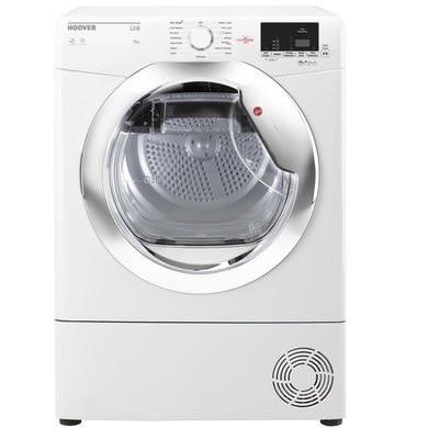 Hoover HLC9DCE Link 9kg Freestanding Condenser Sensor Tumble Dryer With One Touch - White With Chrom
