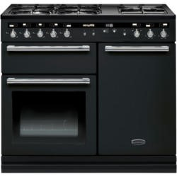 Rangemaster 104860 Hi Lite 100cm Dual Fuel Range Cooker Gloss Black And Chrome
