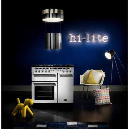 Rangemaster 104740 Hi Lite 100cm Electric Range Cooker With Induction Hob White And Chrome