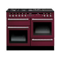 Rangemaster 102620 Hi Lite 110cm Wide Dual Fuel Range Cooker Cranberry And Chrome