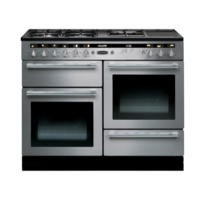 Rangemaster 102650 Hi Lite 110cm Wide Dual Fuel Range Cooker Stainless Steel And Chrome