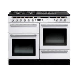 Rangemaster 102660 Hi Lite 110cm Wide Dual Fuel Range Cooker White And Chrome
