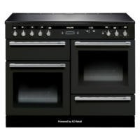 Rangemaster 104480 Hi Lite 110cm Electric Range Cooker With Induction Hob Gloss Black And Chrome