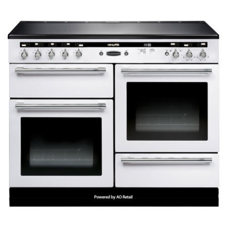 Rangemaster 104530 110cm Electric Range Cooker With Induction Hob White And Chrome