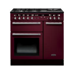 Rangemaster 102570 Hi Lite 90cm Wide Dual Fuel Range Cooker Cranberry And Chrome