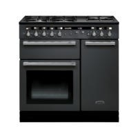 Rangemaster 102590 Hi Lite 90cm Wide Dual Fuel Range Cooker Slate And Chrome