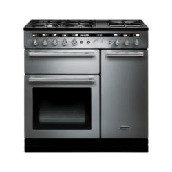 Rangemaster 102600 Hi Lite 90cm Wide Dual Fuel Range Cooker Stainless Steel And Chrome