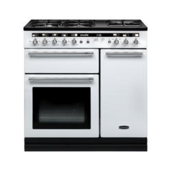 Rangemaster 102610 Hi Lite 90cm Wide Dual Fuel Range Cooker White And Chrome
