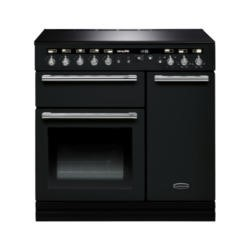Rangemaster 104410 Hi Lite 90cm Range Cooker With Induction Hob Gloss Black And Chrome