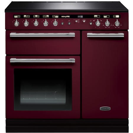 Rangemaster 104420 Hi Lite 90cm Electric Range Cooker With Induction Hob Cranberry Chrome