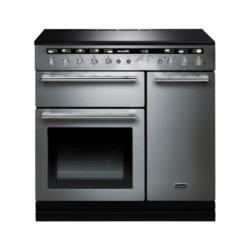Rangemaster 104450 Hi Lite 90cm Electric Range Cooker With Induction Hob Stainless Steel Chrome