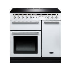 Rangemaster 104460 Hi Lite 90cm Electric Range Cooker With Induction Hob White Chrome