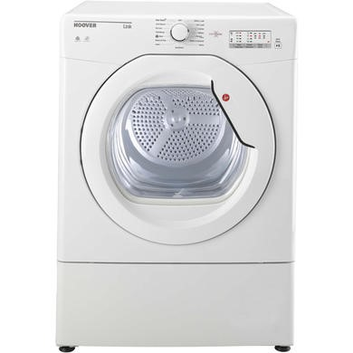 Hoover HLV8LG Link 8kg Freestanding Vented Sensor Tumble Dryer With One Touch - White With White Gla