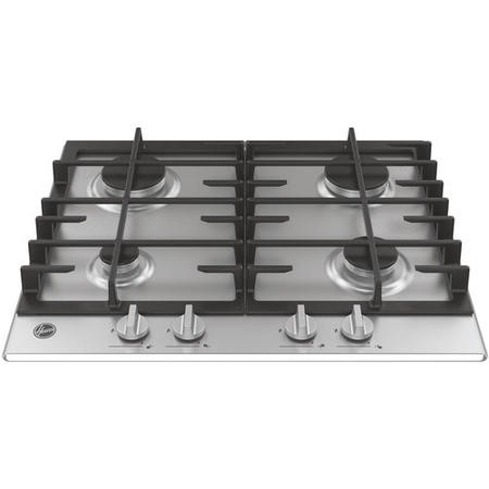 Hoover HMK6GRK3X H-HOB 300 60cm Four Burner Gas Hob With Cast Iron Pan Stands - Stainless Steel