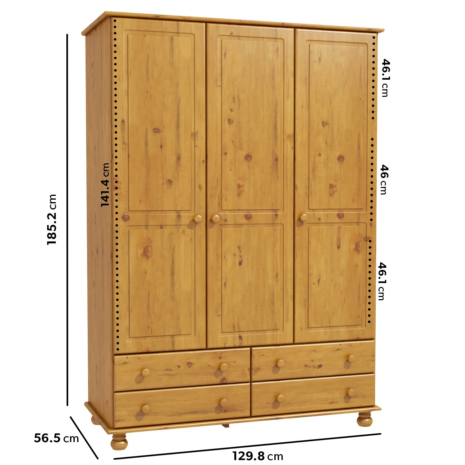 New Modern High Quality 3 Door 4 Drawer Solid Pine