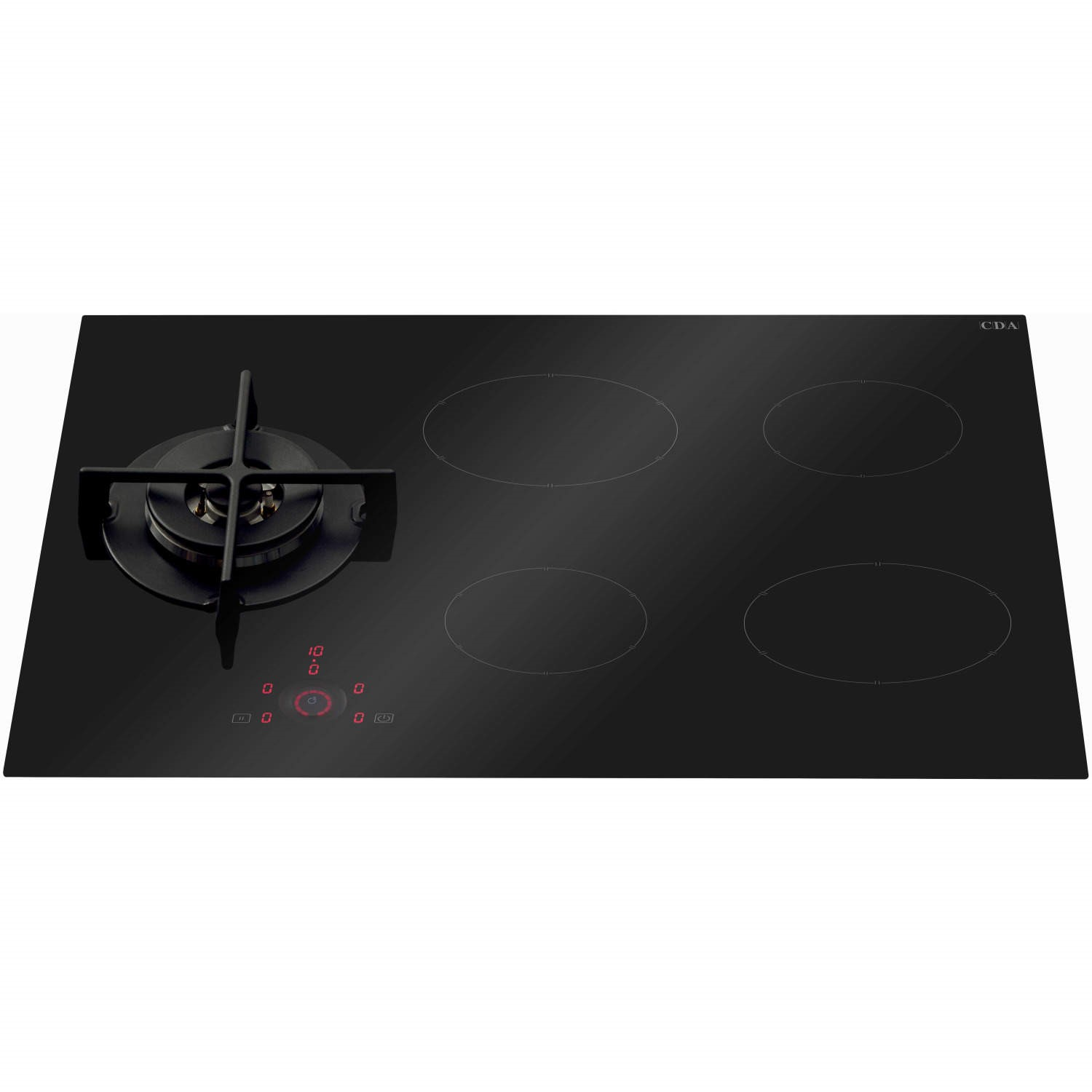 CDA HNG7410FR 78cm Frameless Hybrid Dual Fuel Gas And Induction Hob Black