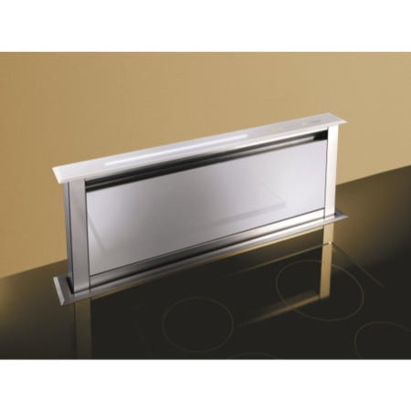 Best HOOD-BE-LI-90-WH Lift 90cm Downdraft Extractor in White Glass