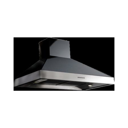 Britannia HOOD-BTH100-GB Latour 2-tone 100cm Chimney Cooker Hood Gloss Black With Stainless Steel
