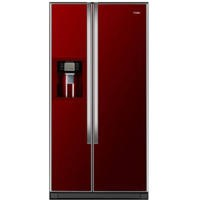GRADE A2 - Haier HRF-663CJR 500L Frost Free American-style Fridge Freezer With Ice And Water Dispenser - Red Gl