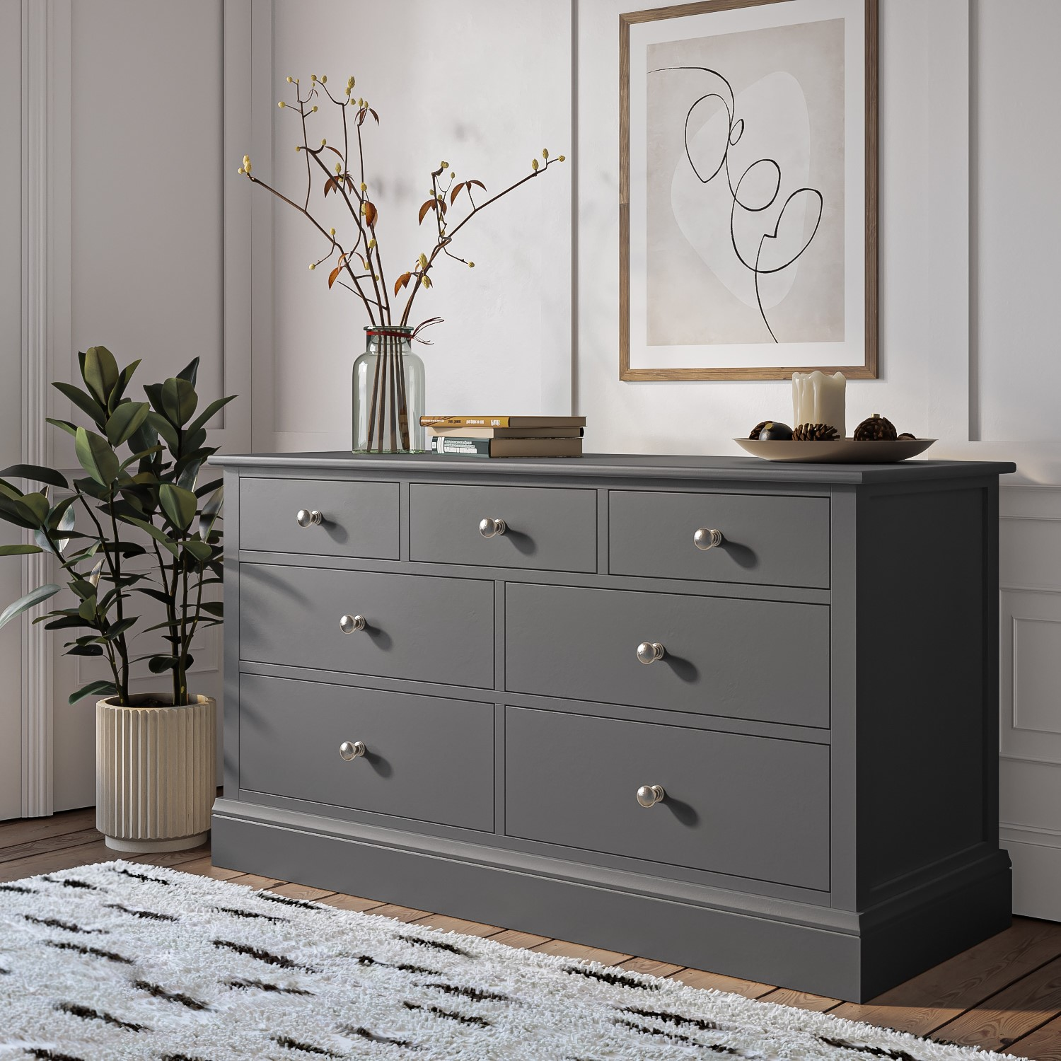 Cabinet Bedroom Furniture: Grey Chest Of Drawers 4+3 Drawer Wide Storage Cabinet