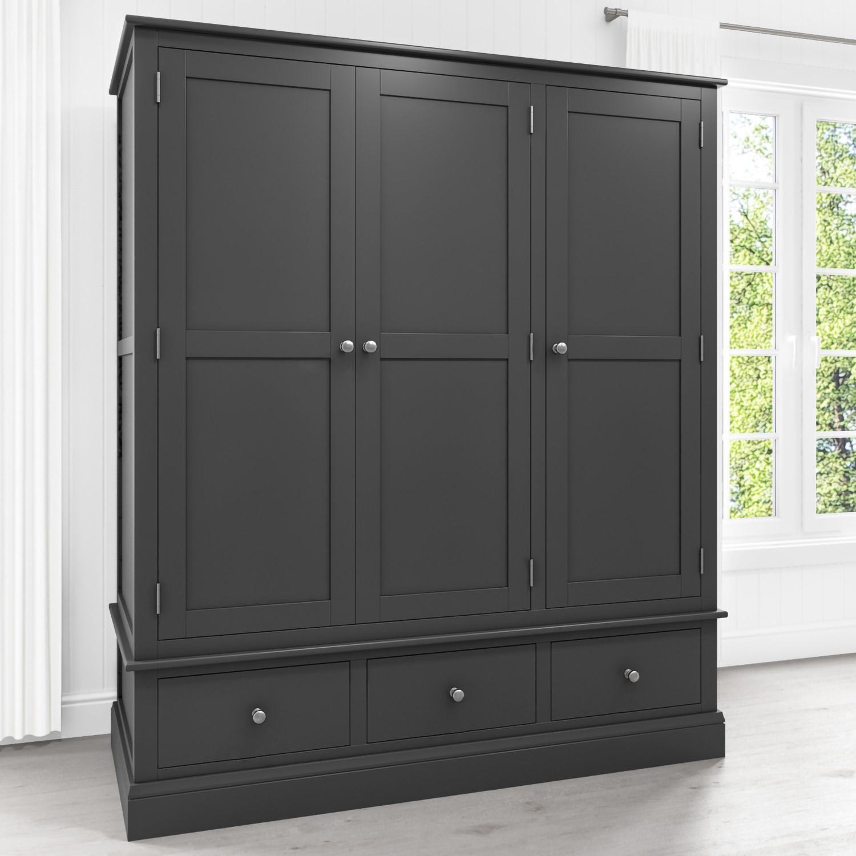 best website 8f89b 36d82 Details about Grey 3 Door 3 Drawer Wardrobe Solid Wood Triple Bedroom  Furniture Combi