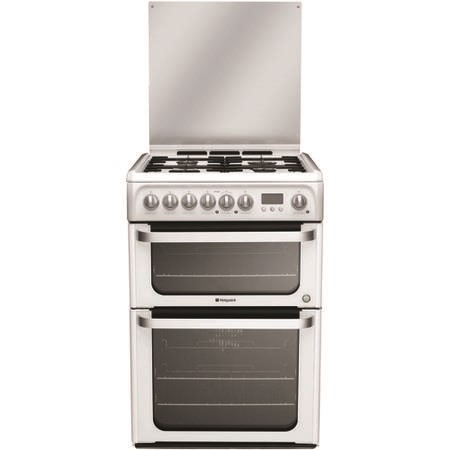 Hotpoint HUD61P HUD61PS Ultima 60cm Double Oven Dual Fuel Cooker - White
